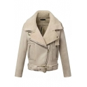 Notched Lapel Wool Lining Belt Hem Inclined Zipper Suede Jacket