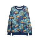 Crow & Floral Print Fleece Round Neck Long Sleeve Sweatshirt
