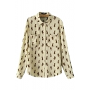 Lapel Fox Print Button Down Long Sleeve Double Pockets Shirt