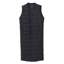 Plain Stand Up Neck Sleeveless Zipper Longline Padded Vest