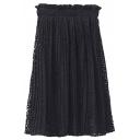 Elastic Waist Pleated Plain Lace Midi A-Line Skirt