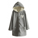 Hooded Single Breasted Cartoon Patchwork Wool Ling Coat