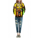 Gold Hooded Vintage Jukebox 3D Print Loose Sweatshirt