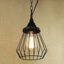 Bird Cage Single Mini Pendant Light in Black Industrial Style for Kitchen Warehouse Farmhouse