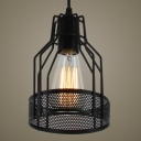 Industrial 1 Light LED Mini-Pendant with Black Metal Wire Mesh