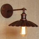 Aged 1 Light LED Wall Sconce with Aged Scalloped Metal Shade
