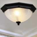 Black LED Flush Mount Ceiling Fixture with Ribbed Class