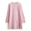 Round Neck Lace Patchwork Long Sleeve Split Side Tunic Sweater
