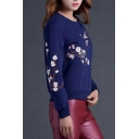 Floral & Bird Embroidery Long Sleeve Sweatshirt