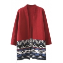 Long Sleeve Tribal Geometric Jacquard Longline Cardigan