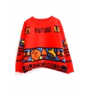 Red Game & Letter Jacquard Long Sleeve Cartoon Sweater