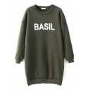 Round Neck Batwing Fleece Letter Print Split Side Tunic Sweatshirt
