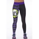 Skull Print Stripe Trims Color Block Black Skinny Yoga Leggings