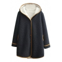 Contrast Hem Polka Dot Single Breasted Hooded Velvet Lining Coat