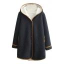 Contrast Hem Polka Dot Single Breasted Hooded Velvet Lining Coat