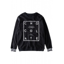 Round Neck Long Sleeve Pullover Letter Print Sweatshirt