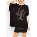 Funny Hand Print Round Neck Batwing Short Sleeve Tunic Tee