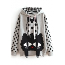 Hooded Cartoon Print Polka Dot Patchwork Sweatshirt