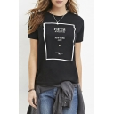 Black Color Block Letter Print Round Neck Short Sleeve Tee