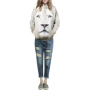 White Lion Print Hooded Long Sleeve Sweatshirt