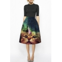 Funny Cat & Galaxy Print A-Line Green High Waist Skirt