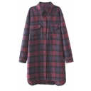 Double Pockets Lapel High Low Plaid Long Sleeve Long Shirt