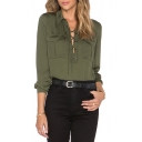 Lapel Crisscross Tie Front Long Sleeve Plain Blouse