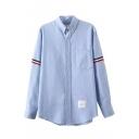 Button Down Colored Stripe Trims Single Pocket Shirt