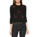Black Long Sleeve Sequined Cherry Patterned Sweatshirt