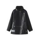 High Neck PU Patchwork Inclined Zipper Tweed Loose Coat