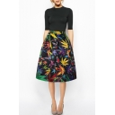 Colorful Leaf Print High Waist A-Line Midi Black Skirt