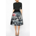 Black High Waist A-Line Beautiful Girls Print Skirt
