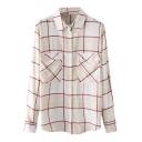 Beige Double Pockets Long Sleeve Lapel Loose Plaid Shirt