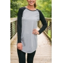 Color Block Raglan Sleeve Round Neck Curved Hem Tunic Tee