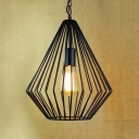 12'' Width Satin Black Diamond Single Light LED Pendant