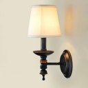 14 '' Tall Industrial LED Wall Lamp with Fabric Shade in Aged Bronze Finish