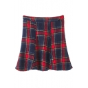 High Waist Plaid Zip Side Knit Ruffle Mini Skirt