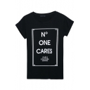 Round Neck Letter Print Short Sleeve Pullover Tee