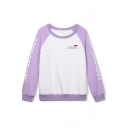 Round Neck Raglan Sleeve Color Block Letter Print Sweatshirt
