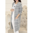Chunky Knit Gray Long Sleeve Stripes Pocket Detail Cardigan