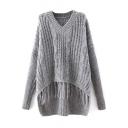 Plain V-Neck Cable Knit Tassel Hem Dip Hem Sweater