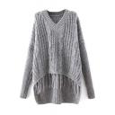 Plain V-Neck Cable Knit Tassel Hem Dip Hem Sweater