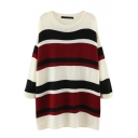 Round Neck Batwing Color Block Stripes Long Sweater