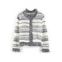 Tassel Hem Stripes Tribal Jacquard Long Sleeve Cardigan