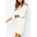 Longline V-Neck White Plain Long Sleeve Sweater