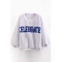 Letter Embroidery Long Sleeve Loose Faux Fur Sweatshirt