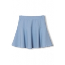 Elastic Waist Ruffle Hem A-Line Mini Plain Skirt