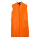 Stand Up Neck Plain Pocket Detail Sleeve PU Long Vest