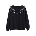 Round Neck Little Flower Embroidery Long Sleeve Sweatshirt