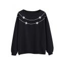 Round Neck Little Flower Embroidery Long Sleeve Sweatshirt